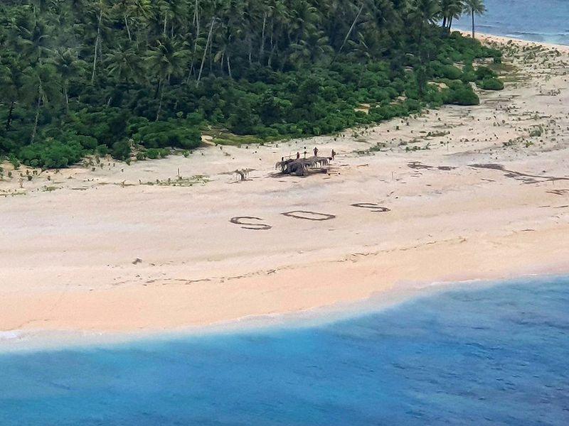 Signo de SOS en la isla