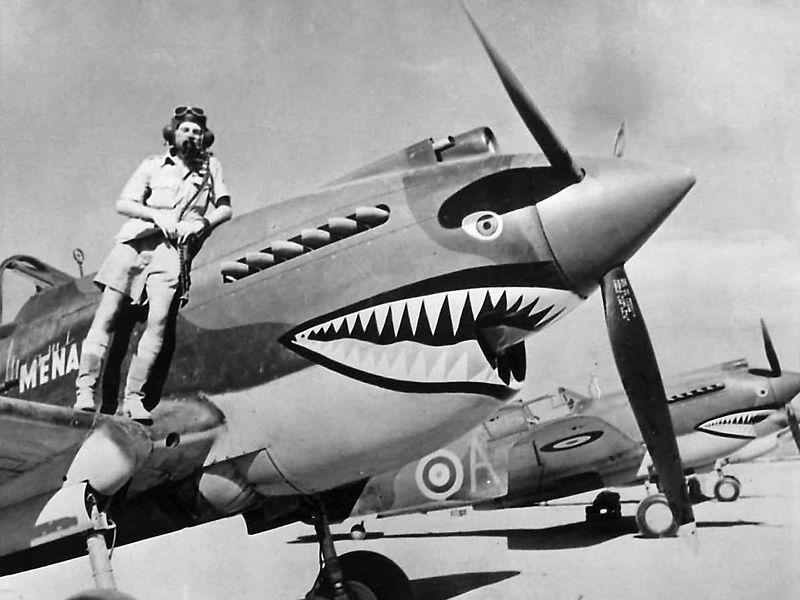 Teniente de vuelo Neville Bowker y avión con arte de tiburón